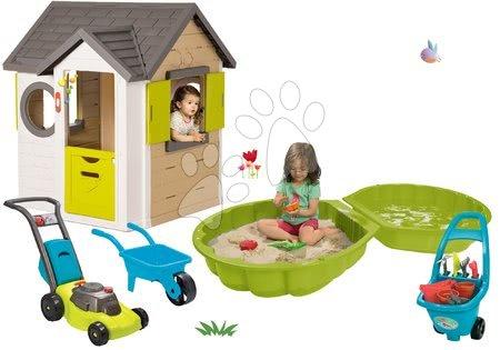 Set domček My Neo House DeLuxe Smoby so zvončekom a 2 dverami pieskovisko mušľa s náradím fúrikom a kosačkou od 24 mes