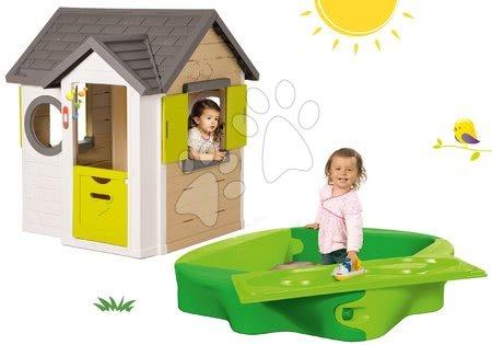 Set domček My Neo House DeLuxe Smoby so zvončekom a 2 dverami a pieskovisko s pevným krytom a vodnou dráhou od 24 mes