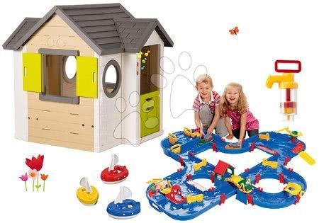 Set domček My Neo House DeLuxe Smoby so zvončekom a 2 dverami a vodná dráha v kufríku s priehradou a 3 plachetnice s pumpou od 24 mes