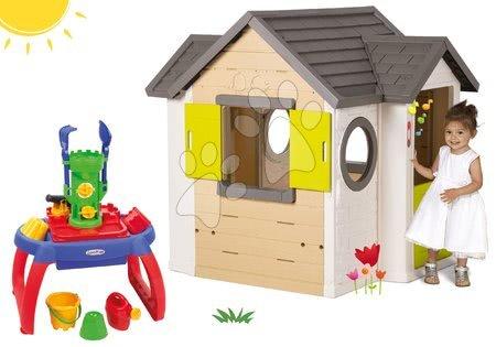 Set domček My Neo House DeLuxe Smoby so zvončekom a 2 dverami a pieskovisko stolík na vodu a piesok s 10 doplnkami od 24 mes