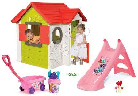 Set domček My House Smoby so zvončekom a 2 dverami a šmykľavka Princezné Toboggan s vozíkom na ťahanie od 24 mes