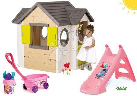 Set domček My Neo House DeLuxe Smoby so zvončekom a 2 dverami a šmykľavka Princezné Toboggan s vozíkom na ťahanie od 24 mes