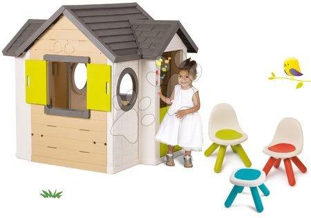 Set domček My Neo House DeLuxe Smoby s elektronickým zvončekom a Piknik stolík s dvoma stoličkami KidChair Red od 24 mes