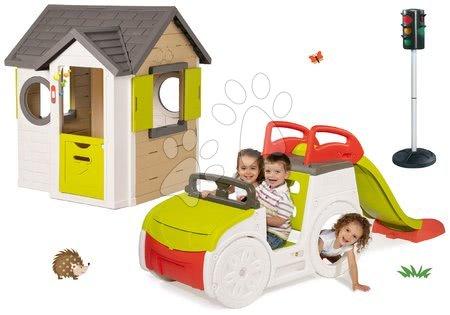 Set domček My Neo House DeLuxe Smoby so zvončekom, preliezačka Adventure Car so šmykľavkou dlhou 150 cm a automatický semafor od 24 mes