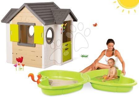 Set domček My Neo House DeLuxe Smoby s elektronickým zvončekom a pieskovisko Motýľ s vodotryskom od 24 mes