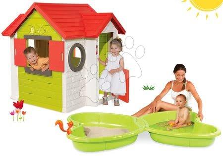 Set căsuţă My House Smoby cu sonerie electronică, cutie de nisip Fluture şi jet de apă de la 24 luni