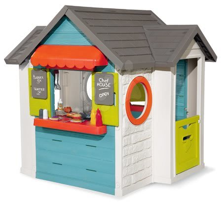 Domček so záhradnou reštauráciou Chef House Smoby s kuchynkou a obchod s pokladňou, 38 doplnkov od 2 rokov