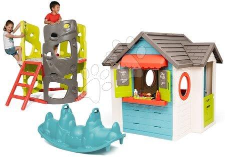 Igračke za djecu od 2 do 3 godine - Set kućica s vrtnim restoranom Chef House DeLuxe Smoby i penjalica s toboganom i ljestvama te obostrana ljuljačka