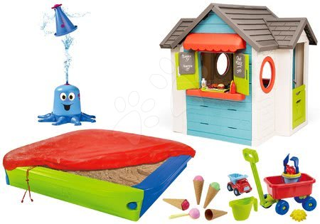 Set domček so záhradnou reštauráciou Chef House DeLuxe Smoby a pieskovisko so striekajúcou chobotnicou a vozík so zmrzlinou