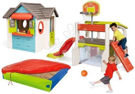 Set domeček se zahradní restaurací Chef House DeLuxe Smoby a sportovní hrací centrum s basketbalovým košem a pískoviště s plachtou