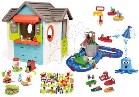 Szett házikó kerti büfével Chef House DeLuxe Smoby és kalandos vízi pálya AquaPlay Adventure Land és élelmiszerek