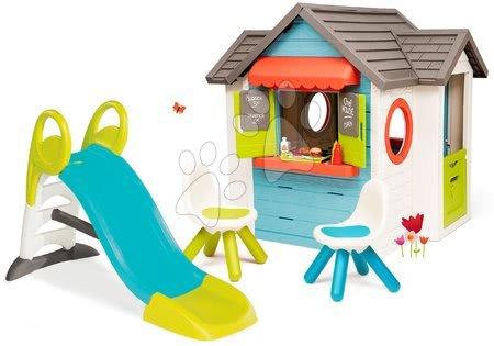 Hišice s toboganom - Komplet hišica z vrtno restavracijo Chef House DeLuxe Smoby in tobogan 150 cm z vodno igro in dva stolčka