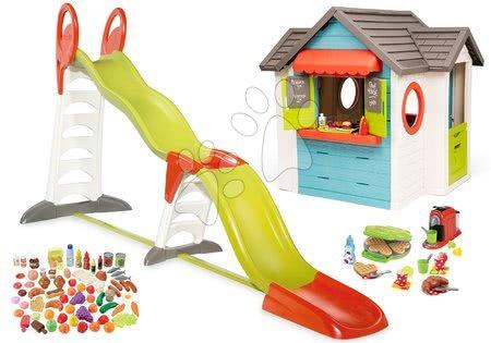 Szett házikó kerti büfével Chef House DeLuxe Smoby és Super Megagliss 2in1 csúszda gofrisütővel és élelmiszerekkel