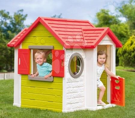 Căsuță My Neo House Smoby 1 ușă 2 ferestre cu jaluzele 2 ferestre rotunde se poate extinde de la 2 ani