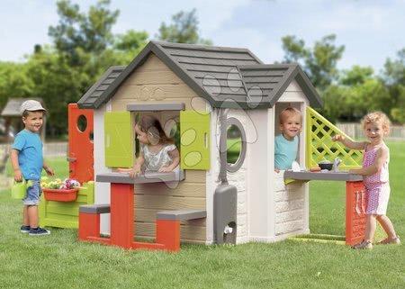 novi-proizvod - Kućica prirodna My New House Smoby s proširenjima i potpunom opremo od 24 mjes