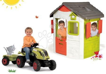 Claas - Set domeček Jura Lodge Smoby se dvěma dveřmi a traktor Claas Farmer XL s přívěsem