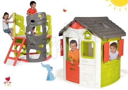 Hračky pre chlapcov - Set domček Jura Lodge Smoby s dvoma dverami a preliezačka Multiactivity Climbing Tower so šmykľavkou od 24 mes