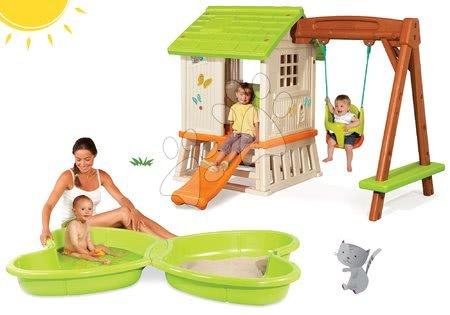 Detský domček Pretty Forest Hut Smoby s hojdačkou+pieskovisko Motýľ s vodotryskom objem 95 litrov SM810601-4