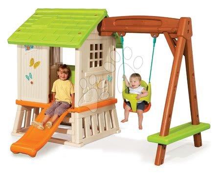 Set domček pre deti Pretty Forest hut so šmykľavkou a hojdačkou 2v1 od 2 rokov