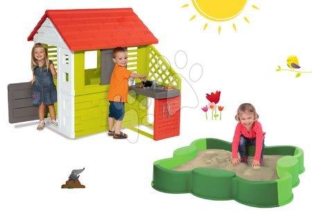Szett házikó gyerekeknek Pretty Nature Smoby nyári kiskonyhával és homokozó Lóhere Vario takaróponyvával