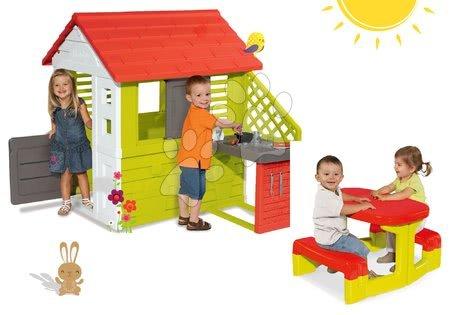 Set detský domček Pretty Nature Smoby s letnou kuchynkou a stôl Piknik s úložným priestorom od 2 rokov