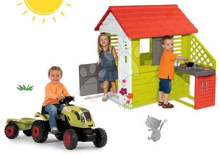 Claas - Set domeček Pretty Nature Smoby s letní kuchyňkou a traktor Claas GM s přívěsem od 24 měsíců