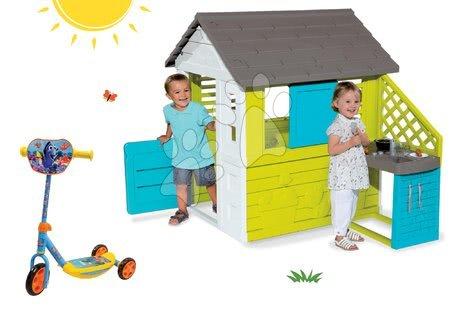 Finding Dory  - Set domeček Pretty Blue Smoby s letní kuchyňkou a tříkolová koloběžka Hledá se Dory ako Dárek