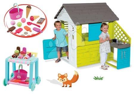 Set domček Pretty Blue Smoby s letnou kuchynkou a vozík Délices s košíkom od 24 mes