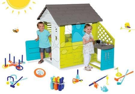 Set domček Pretty Blue Smoby s letnou kuchynkou a športový set 7 hier od 24 mes