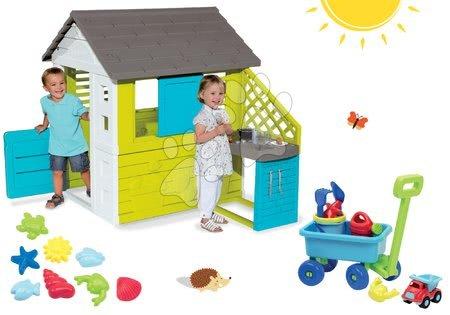 Set domček Pretty Blue Smoby s letnou kuchynkou, vozík na ťahanie s vedro setom a formičky do piesku od 24 mes