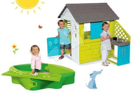 Set domeček Pretty Blue Smoby s letní kuchyňkou a pískoviště Sandy s krytem od 24 měsíců