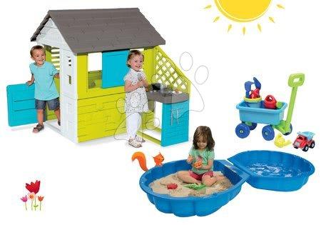 Set detský domček Pretty Blue Smoby s letnou kuchynkou, dvojdielne pieskovisko Mušľa a vozík s vedro setom