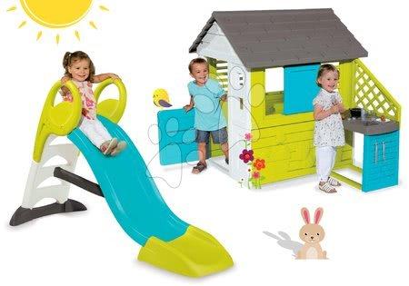 Set domček pre deti Pretty Blue Smoby s letnou kuchynkou a  šmykľavka Toboggan KS