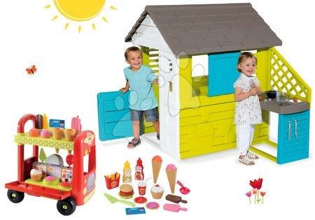 Komplet hišica Pretty Blue Smoby z letno kuhinjo in voziček Délices in košarica od 24 mes