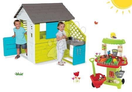 Set kućica Pretty Blue Smoby s ljetnom kuhinjom i štand s povrćem 100% Chef s 40 dodataka od 24 mjeseca