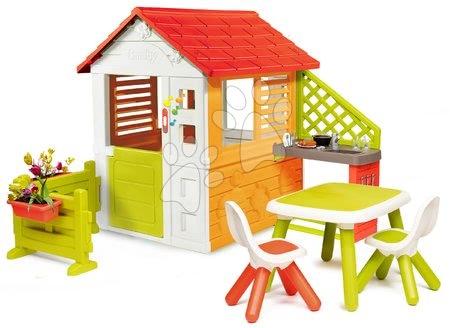 Căsuță Soare Sunny Smoby cu sonerie, bucătărie și grădină în față cu mobiliere