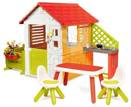 Căsuță Soare Sunny Smoby cu sonerie bucătărie de vară grădină în față și măsuță cu 2 scaune de la 24 de luni