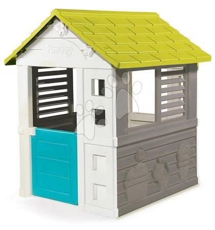Domeček Jolie Smoby modro-šedý s 3 okny a 2 žaluziemi s UV filtrem od 2 let