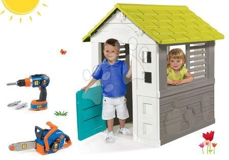 Szett házikó Jolie Smoby kék 3 ablakkal és 2 árnyékolóval és motorfűrész fúrógéppel Bob The Builder 24 hó-tól