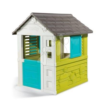 Domček Pretty Blue Smoby modro-zelený s UV filtrom s 3 oknami 2 žalúzie a 2 posuvné okenice od 2 rokov