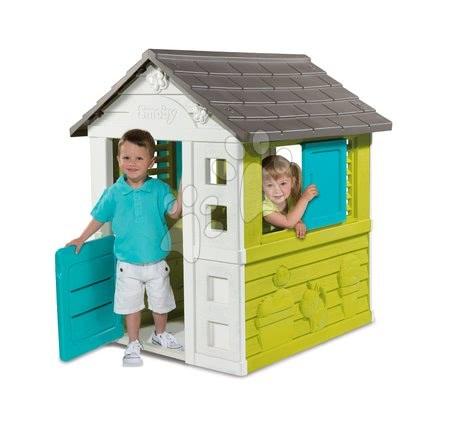 Hračky pre chlapcov - Set domček Pretty Blue Smoby so zasúvacou okenicou a preliezačka Multiactivity Climbing Tower so šmykľavkou od 24 mes_1
