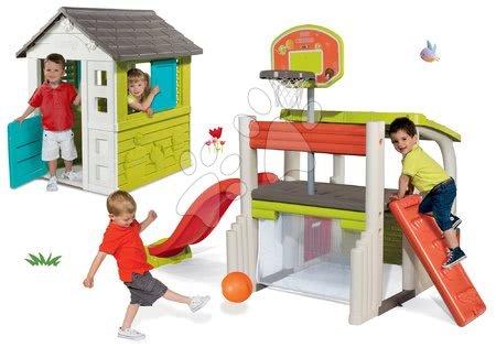 Hračky pre chlapcov - Set domček Pretty Blue Smoby so zasúvacou okenicou a hracie centrum Fun Center so šmykľavkou od 24 mes