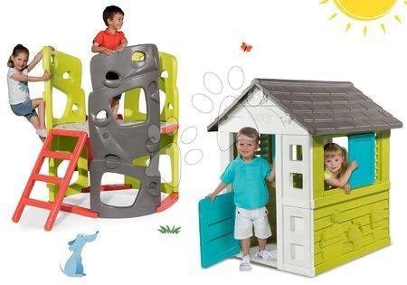 Hračky pre chlapcov - Set domček Pretty Blue Smoby so zasúvacou okenicou a preliezačka Multiactivity Climbing Tower so šmykľavkou od 24 mes