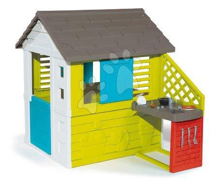 Căsuță cu bucătărie Pretty Blue Smoby albastru-verde, 3 geamuri cu 2 jaluzele și 2 obloane glisante cu filtru anti UV și 17 accesorii de la 2 ani