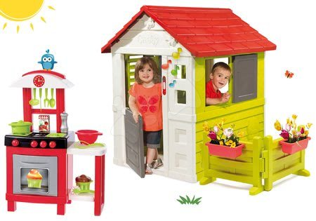 Set kućica Nature Smoby crvena 3 prozora 2 rolete i rebrenice sa zvoncem i vrtom i kuhinja 100% Chef Pro Cook od 24 mjeseca