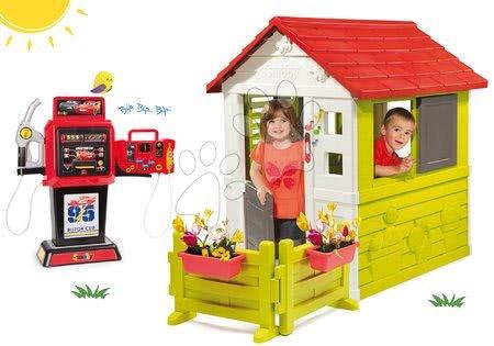 Set kućica Nature Smoby crvena 3 prozora 2 rolete i rebrenica sa zvoncem, vrtom i benzinskom crpkom Cars elektronička od 24 mjeseca