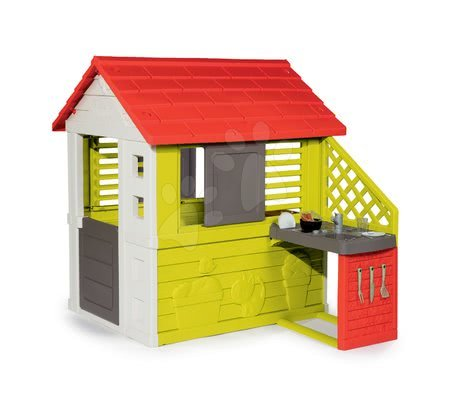 Domček s kuchynkou Nature Smoby červeno-zelený 3 okná s 2 žalúziami a 2 posuvné okenice s UV filtrom a 17 doplnkami od 2 rokov