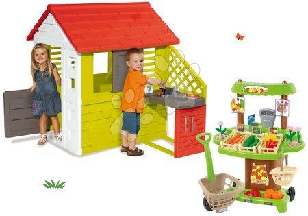 Set domček Pretty Nature Smoby s letnou kuchynkou a zeleninový stánok 100% Chef od 24 mes