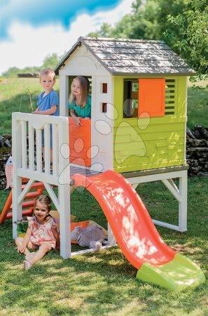 Domečky pro děti - Domeček na pilířích Pilings House Smoby s 1,5 m skluzavkou zvonkem a zahrada se sekačkou a nářadím_1