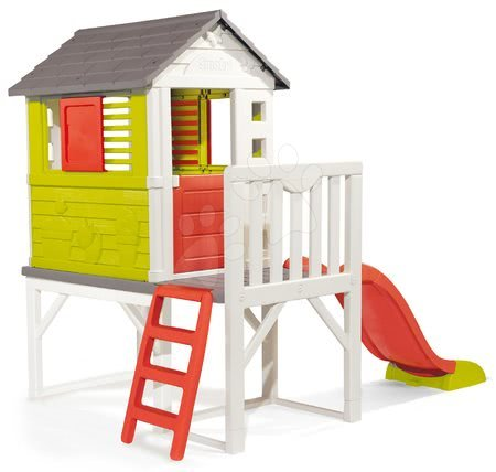 Domečky pro děti - Domeček na pilířích Pilings House Smoby s 1,5 m skluzavkou zvonkem a velkou zahrádkou_1